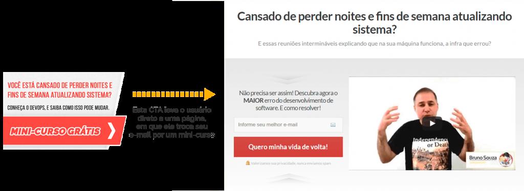 Exemplo de call to action que leva para uma landing page