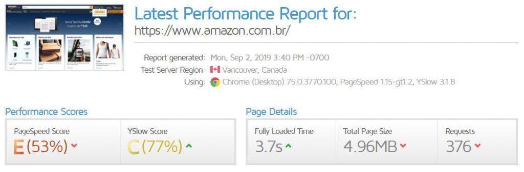 Relatório do GMetrix sobre um site lento